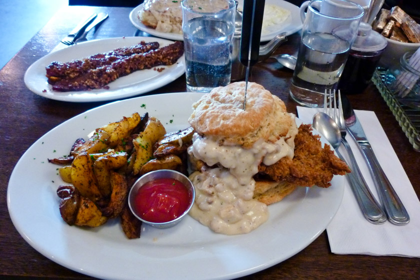 Screen Door: Fried Chicken Cathead Biscuit Sandwich