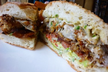 Toulouse Petit Fried Yearling Oyster and Bacon Po'Boy