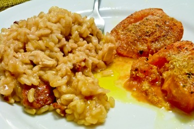 Chorizo and Chicken Risotto with Roasted Tomatoes