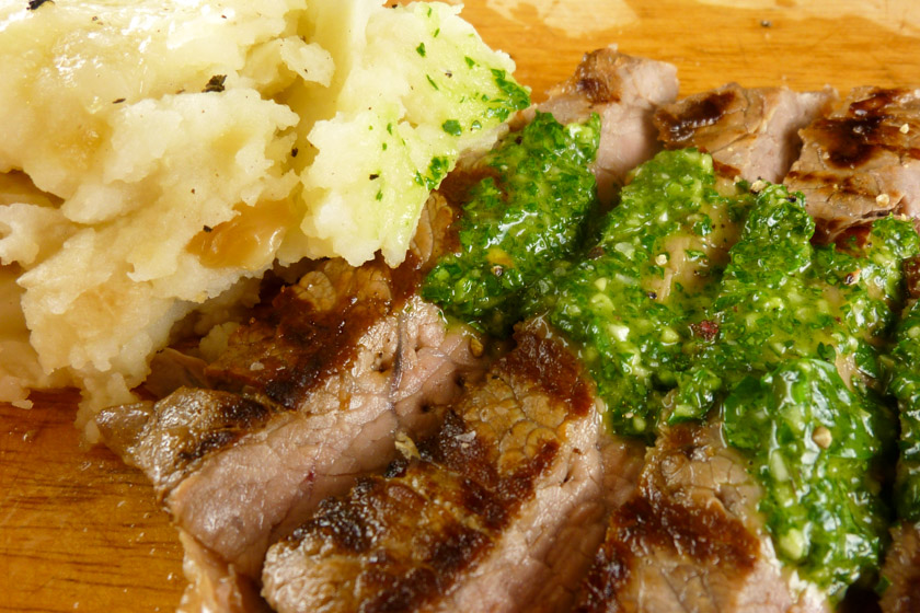 Steak Chimichurri with Roasted Garlic Mashed Potatoes